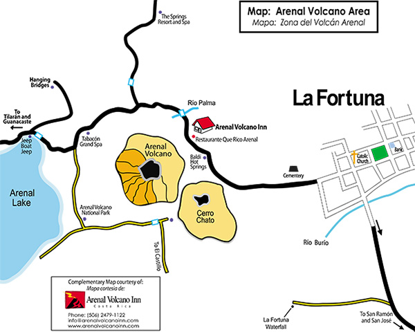 Arenal Volcano Area Map
